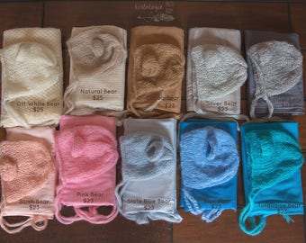 Newborn Mohair Bear Bonnet & Wrap Set * Photo Prop  * Matching Sets *