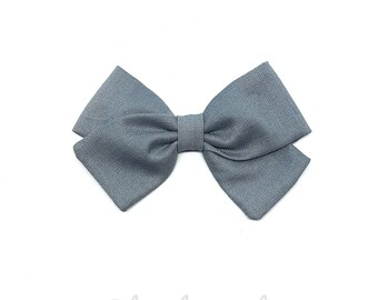 Barrette girl or baby blue grey bow headband
