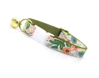 """Floral Cat Collar Breakaway - """"Jungle Ivory"""" - Rifle Paper Co® / Spring Cat Collar / Tropical Cat Collar - Cat, Kitten & Small Dog Sizes"""