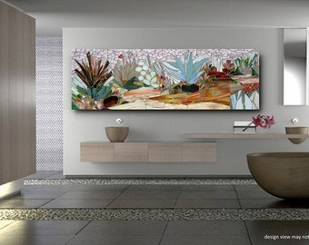 SUCCULENT GARDEN MOSAIC Wall Art  Made To Order  Patio Decor Mosaic Wall Art  Stained