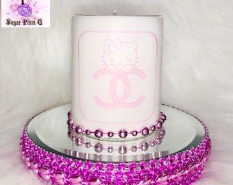 Ultra Bling Scented Hello Kitty Candle with Mirrored Pink Platform Display Tray   Designer Inspired