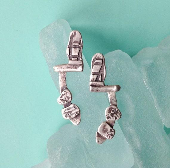 modern earrings | oxidized earrings | long post earrings | sterling silver | unique