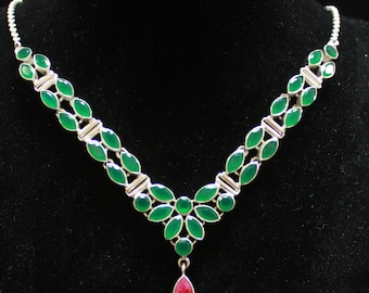 Emerald & Ruby Necklace 925
