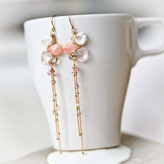 Pink Opal, White Keishi, Rose Quartz, and Smoky Quartz Long Cascading Gold Filled Earrings