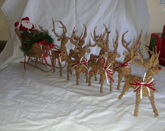 Reindeer Rope Handmade with Sleigh with Rudolph