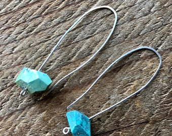 Self Love - Turquoise and Sterling Silver Open Hoop Earrings