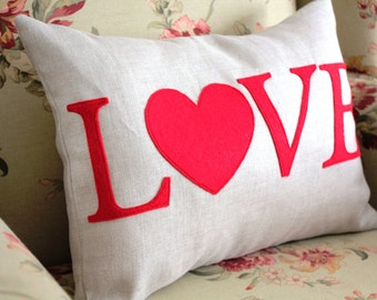 Linen Love Pillow Cover 12x16