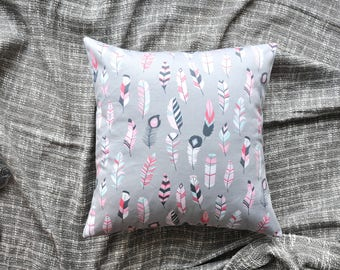 Feathers Cushion Cover, Throw Pillow Cover, Throw Cushion Cover, Decorative Cushion Cover, Decorative Pillow Cover - Pink & Grey
