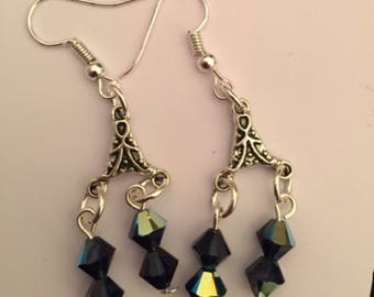 Ear dangles - blue Swarovski crystal
