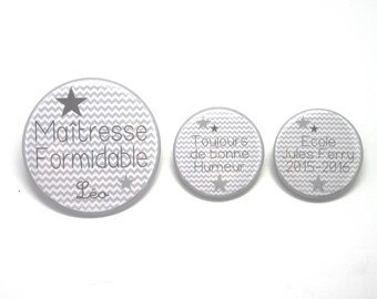 Wonderful mistress - Herringbone grey - set of 3 customizable Magnets