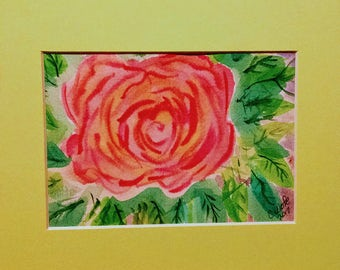 pink rose, watercolor painting, not a print, rose, art