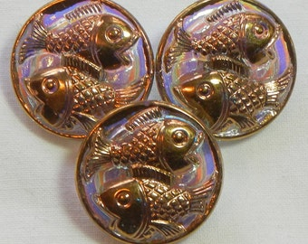 Little Fishes Czech Glass Buttons (3)