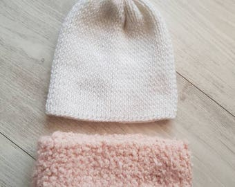 Set Hat scarf pink and white