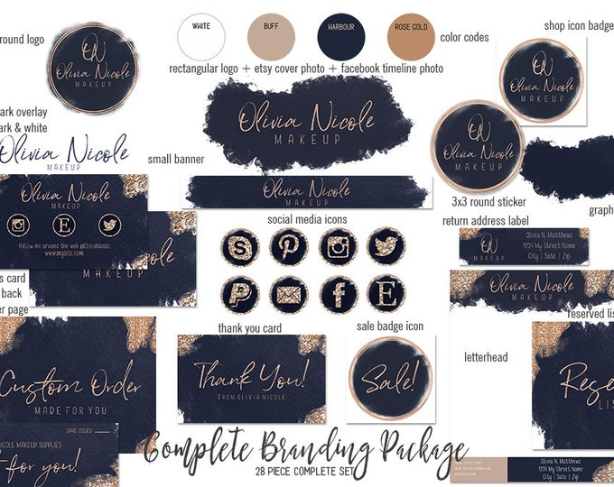 NAVY BLUE ROSE Gold Etsy Shop Set Modern Branding Kit Watercolor Brush Strokes Chic Cover Photo Banner Logo Business Card Social Media Icons