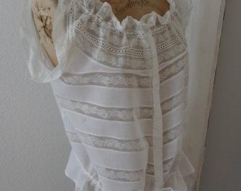 Antique Edwardian Cotton Lace Camisole Corset Cover |  1910's Lace Camisole Size S/M | Victorian Lace Lawn Camisole