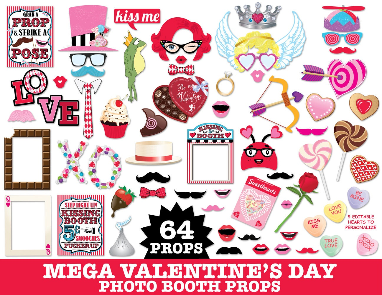Fresh Valentines Day Photo Booth Props,Wedding Props,Cupid,Kissing Booth  SL95
