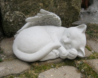 Cat Angel, Concrete Life Size Pet Kitty Statue Memorial, Cement Headstone Cat  Statues,
