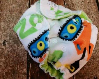 Newborn Hybrid Fitted Cloth Diaper Minky Construction Trucks Organic Cotton