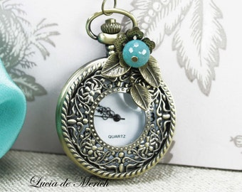 Pocket watch necklace - Vintage style - gift uder 25 USD - coupon code-Mother's day gift -Black friday - Cyber monday