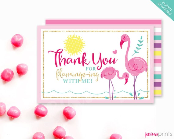 Top Instant Download Pink Flamingo Printable Thank You Card CM34
