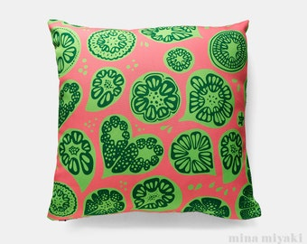 """Frutti Print Pillow or Pillow Cover in Pink and Lime Green, 18 inch by 18"""". Polyester canvas with invisible zipper"""