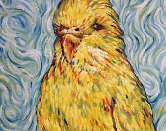 Van Gogh, Budgie, Budgerigar, Parakeet, Blank Greeting Card,Famous Painting, Impressionism,From Original Oil Painting By Budgerigardener