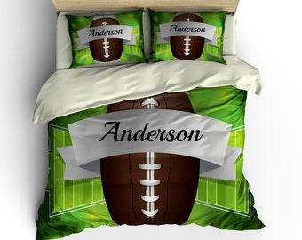 Football Bedding -Duvet  Cover Set- Comforter COVER-Pillow Shams -CUSTOM Personalized