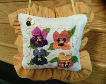 Little Cross Stitched Pansy Pillow