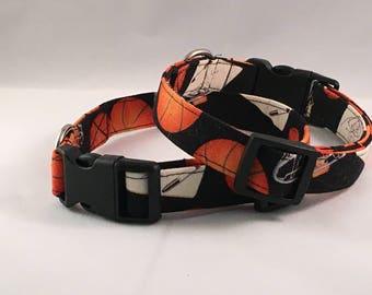 Handmade Dog Collar, Basketball Print, Sport,Orange Black