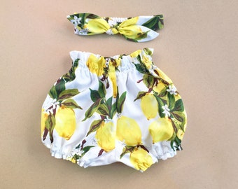 Baby Girl outfit Baby Bloomers Baby Bloomer Knot Headband Lemon Bubble Shorts Baby Headband  Clothing Coming Home Outfit Baby Girl Gift