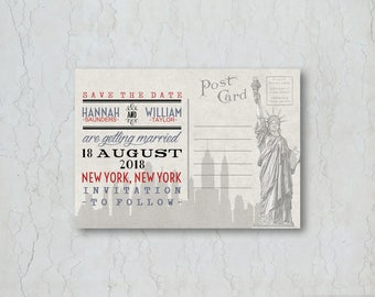 New York Wedding Save the Date Card or Magnet