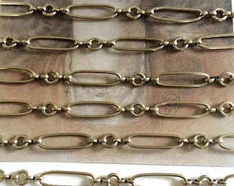 Little Corey Chain, Large Fancy Brass Chain, Station Chain, 22mm, 3FT