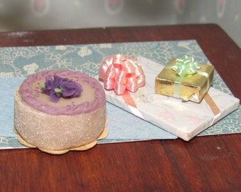 Miniature Birthday Cake for Dollhouse and Two Gifts with Bows Collectible Vintage Doll House Accessories