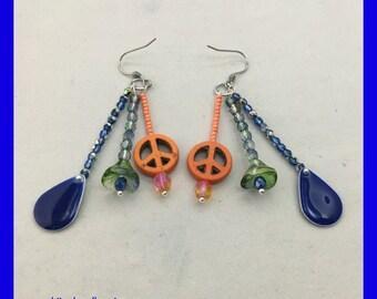 Peace Sign Earrings / Flower Earrings / Orange Peace Sign / Hippie Earrings / Orange and Blue Beaded Earrings/ Unique gift ideas