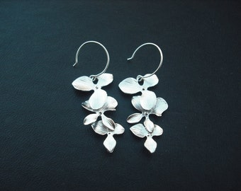 tripple orchid flower cascading earring - white gold plated and sterling silver earwire