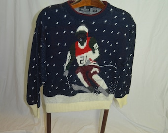 "Vintage Mens "" Jonathan Bryan "" Picture Knit Ski Pullover Sweater - Medium"