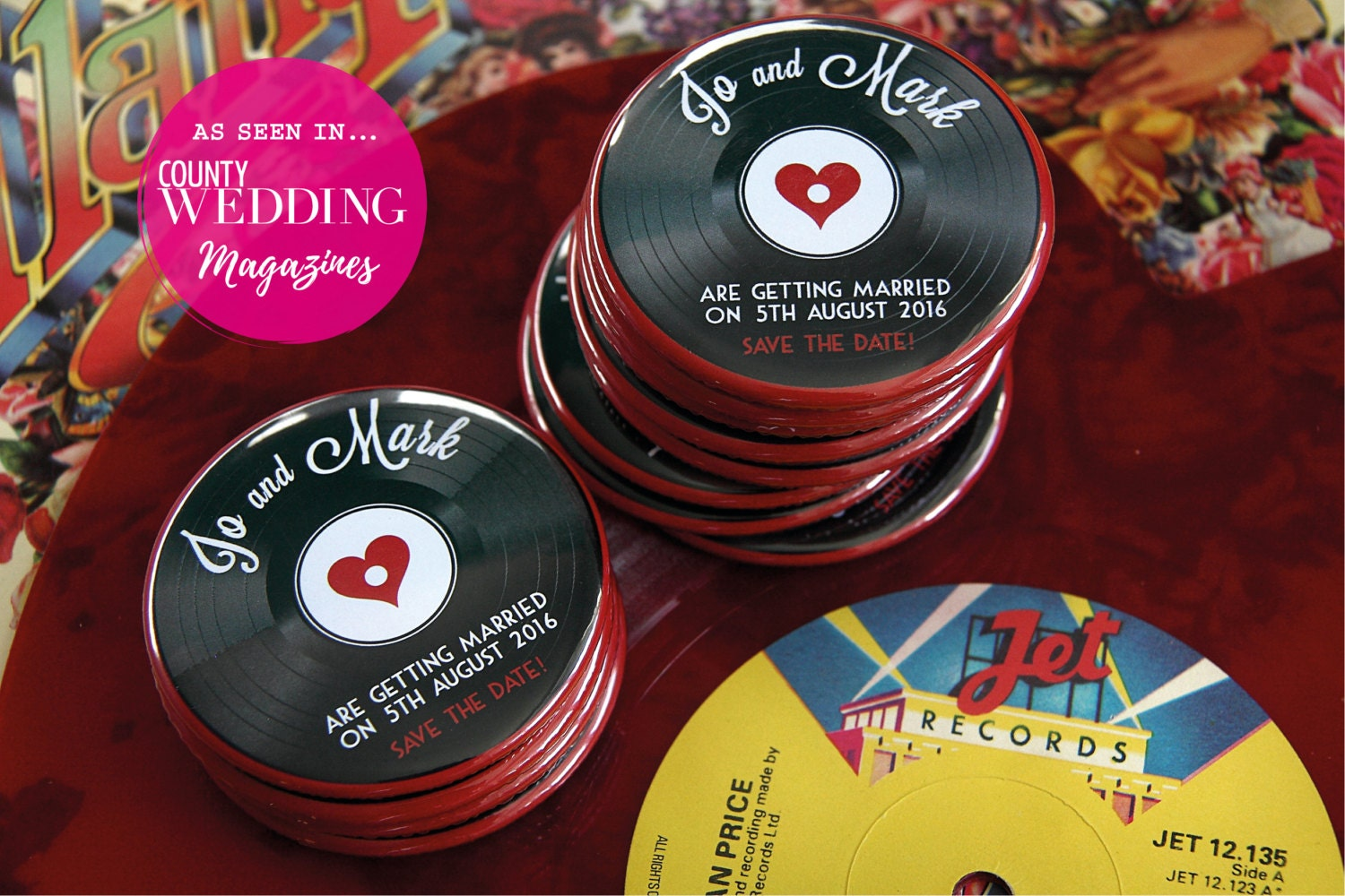 1950s VINYL RECORD design Save the Date 58mm Magnets