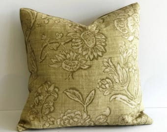 Light Olive Green, Floral Throw Pillow Covers