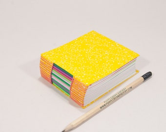 365 Day Notebook / A Page A Day Journal / Handbound Diary / Gratitude Journal / Bitty Book for Kids / Bright Yellow Fabric Cover