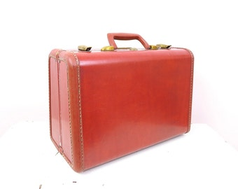 Vintage Brown Suitcase | Vintage Samsonite Travel Train Case Suitcase Overnight Case | 1950s Luggage Props
