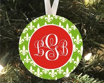 Monogrammed Fleur de Lis Porcelain Ornament