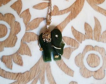 Vintage AA Grade Jade Elephant Necklace