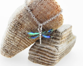 Dragonfly Necklace Abalone Necklace Abalone Pendant Birthday Gift for Her Hypoallergenic Jewelry Abalone Shell Jewellery Paua Shell Necklace