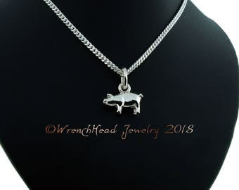 Sterling Silver Pig Pendant c/w Chain