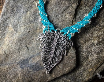 Micro Macrame big leaf elven necklace boho jewelry boho jewelry by Creations Mariposa