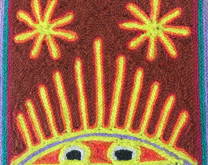 "Huichol Yarn Art 4""x4"" - Father Sun"