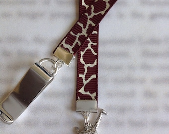 Giraffe bookmark / Cute Bookmark - Attach clip to book cover then mark the page with the ribbon. Never lose your bookmark!
