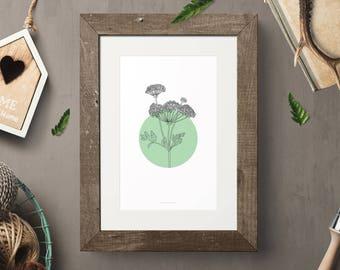 Black Flower On A Green Circle, Botanic Wall Art, Botanical Wall Print, Home Decor Art , Botanic Poster, Illustration Poster, Minimal Art