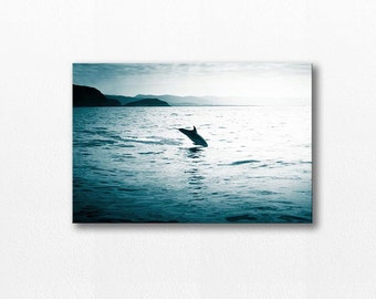 beach photography canvas print dolphin wall decor nautical ocean canvas 12x18 24x36 fine art photography coastal canvas wrap ocean navy blue