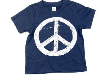 Kids Peace Sign Tshirt  - Eco-Friendly - Organic - Navy Blue -Toddler - Small, Medium, Large - Boy - Girl